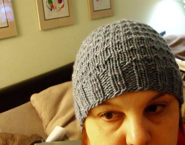 Chemo Hat #8 Completed - 3AM Blue Cable Hat ~ smariek knits