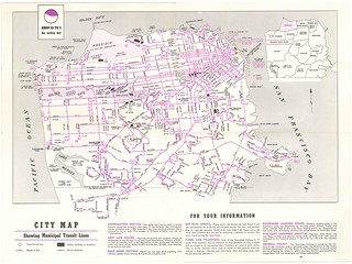 San Francisco Municipal Railway Tours of Discovery / City Map Showing Municipal Transit Lines (1954)