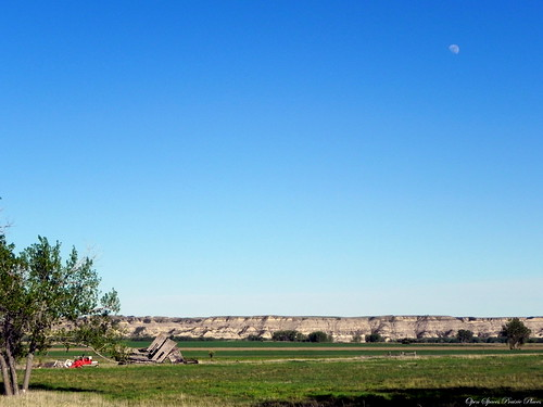 Under a Daylight Moon, House and Swather, Richland County, MT
