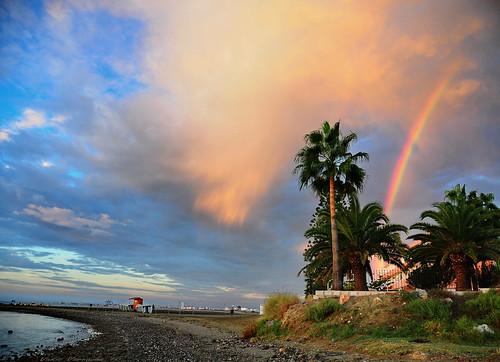 morning beach colors rain clouds sunrise hope rainbow day spectrum sunday raindrops seafront larnaca orangeyellow larnaka goldenglow mycolors 101010 nikond300 varnavasthearchitect larnakabay bayoflarnaka bayoflarnaca