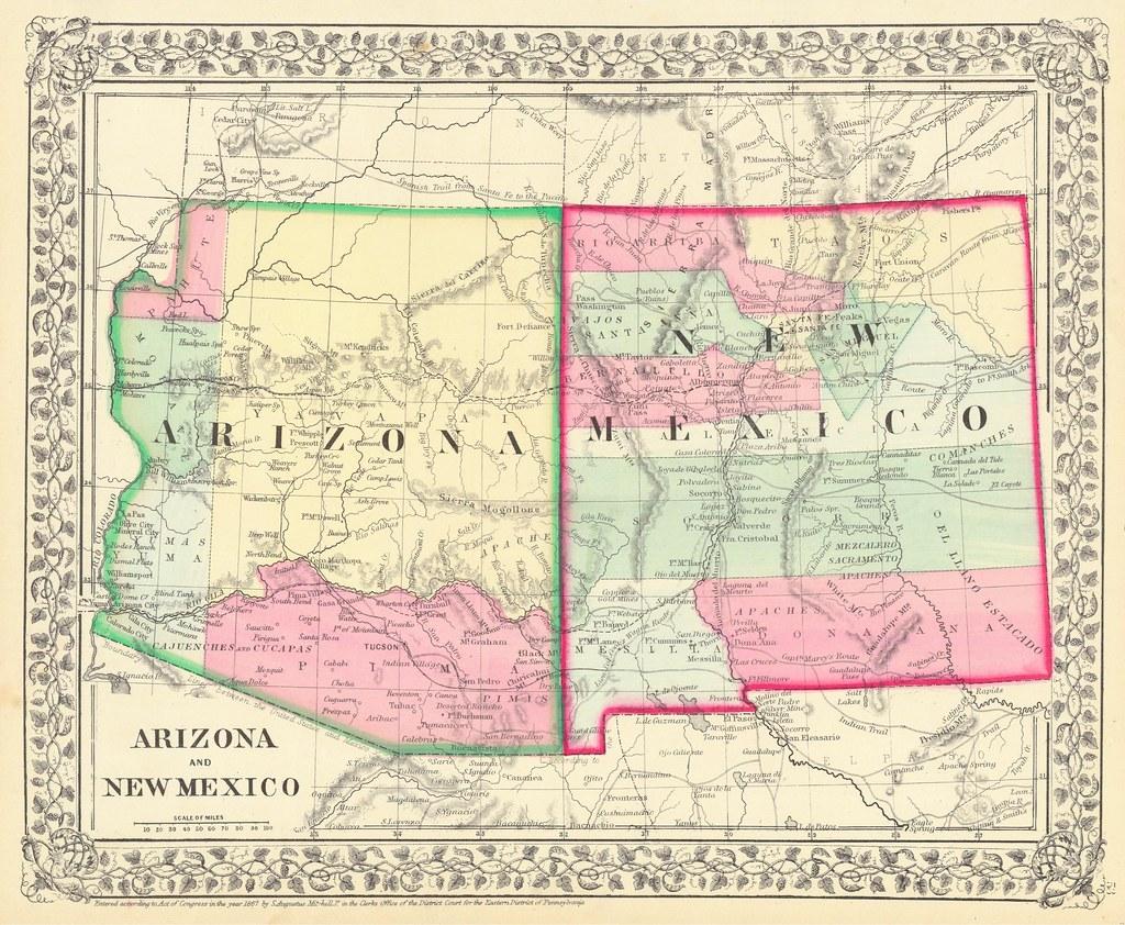 Arizona and New Mexico Territories Map, 1867 ...