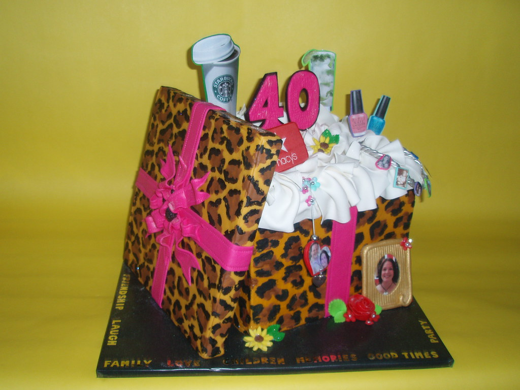 Leopard Gift Box 40th Birthday Cake