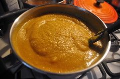 Heating the pumpkin soup