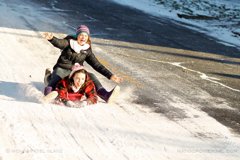 the sledding girls