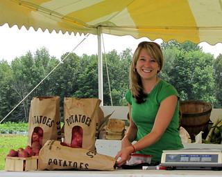Laura Working at the Wisconsin Farmstand
