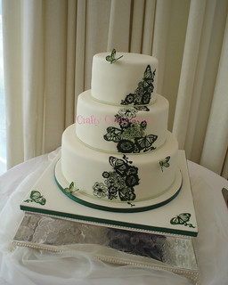 Hand-painted butterfly design wedding cake