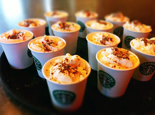 Sampler tray of Starbucks new Mocha Toffee Latte