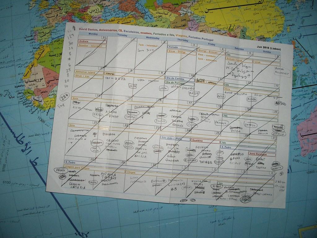 Calendário de viagem pelo Médio Oriente