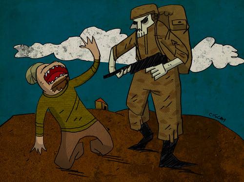 Ilustración: un soldado apunta a un civil que implora de rodillas