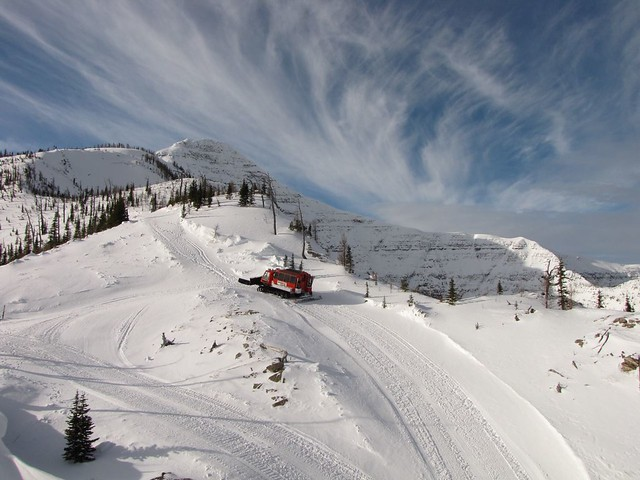 Cat skiing at Castle Mountain, Alberta