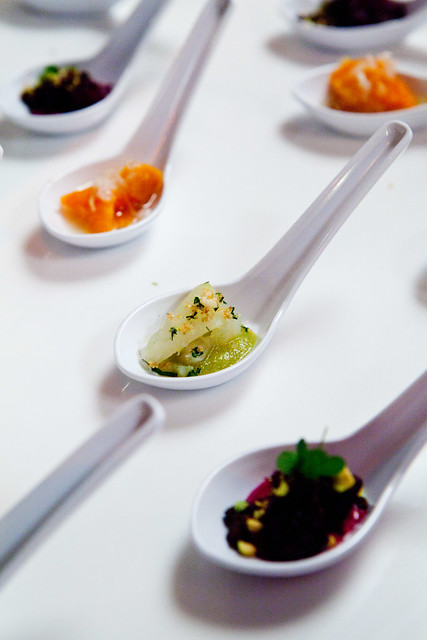 Tasting spoons of vegetables