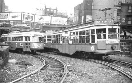 Boston MTA Tremont PCC 3007 & Boston MTA Center-Entrance car 6268 at the Pleasant St Portal
