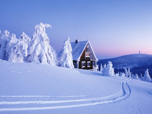 Snow-Covered Ore Mountains, Saxony, Germany