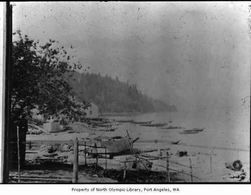 Native American village, including a graveyard, at Neah Bay