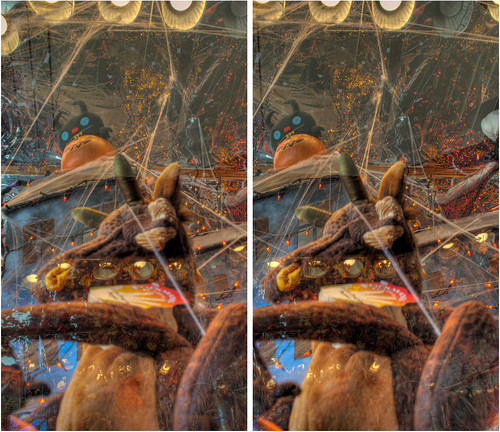 urban sculpture art halloween window toys stereoscopic stereophotography 3d crosseye upstate saratogasprings upstateny handheld chacha storewindow depth hdr exhibits storewindowdisplay 3dimensional crosseyedstereo 3dphotography saratogaspringsny sitespecificart gwillikers 3dstereo distinctivetoys