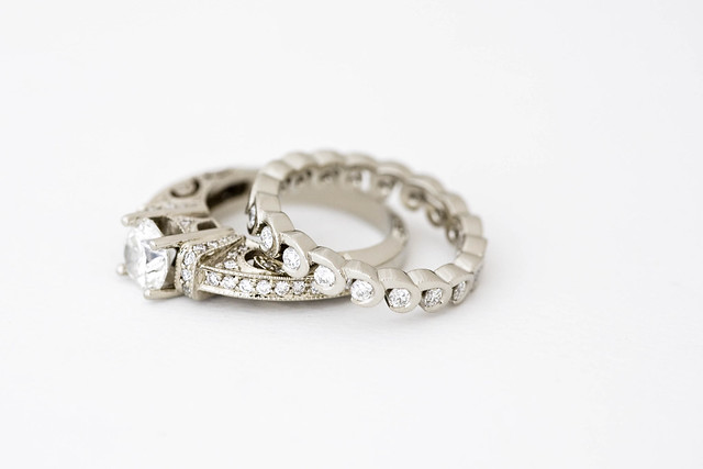 ornate engagement ring and wedding band flickr photo