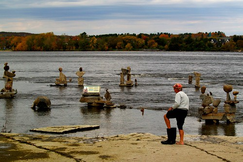 A craftsman who constructs Inushuks along the Ottawa River steps out of his working gear.