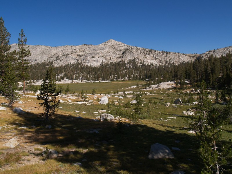 The largest meadow in Granite Basin. Granite Pass is on the right.