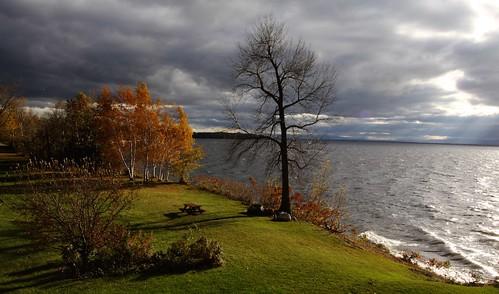 autumn trees sun fall landscape flickr vermont outdoor foliage vt darkclouds lakechamplain northhero