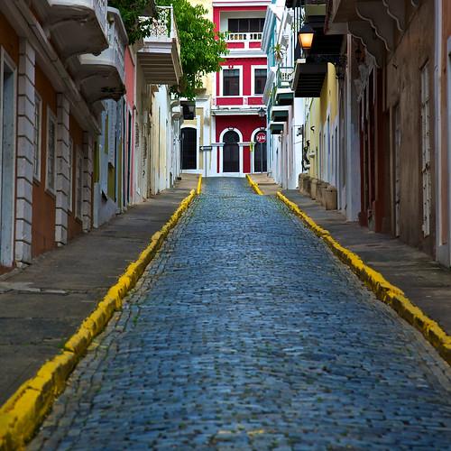 houses colors oldsanjuan puertorico colonial cobblestones textures sidewalk lionfrr