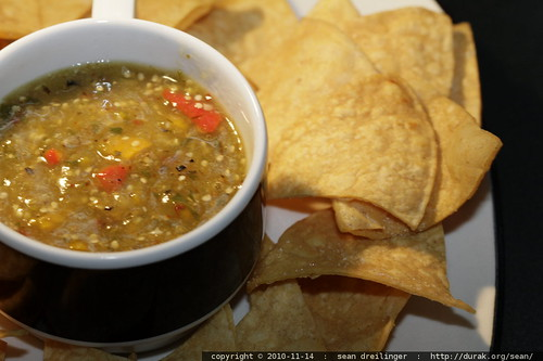 homemade: roasted chipotle tomatillo salsa and tortilla chips