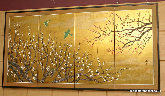 Large Japanese Hand-painted On Gold Leaf Wall Art Folding