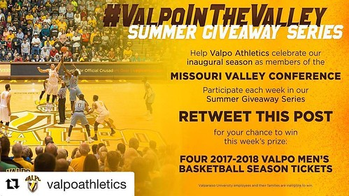 @valpoathletics has a new giveaway each week! Retweet their original post on Twitter for a chance to win four @valpobasketball season tickets. #GoValpo #ValpoInTheValley