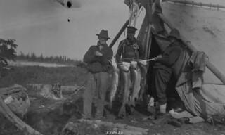 Three men showing trout and white fish catch, Hardisty Island, Great Slave Lake, Northwest Territories / Trois hommes montrant les truites et les poissons blancs qu'ils ont pêchés, île Hardisty, Grand lac des Esclaves (Territoires du Nord-Ouest)