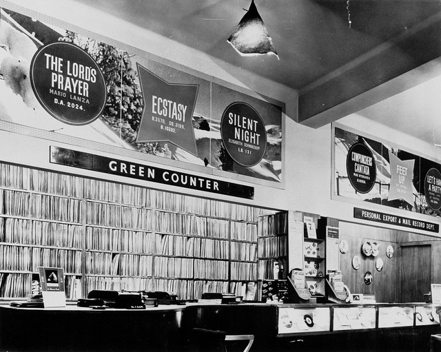 hmv 363 Oxford Street, London - Green counter 1950s