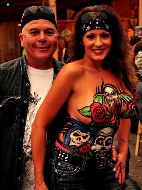 body painting the crowd at Sturgis