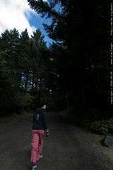 rachel walking home from the forest center in her pi…