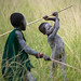 Surma kids in Donga stick fighting - Ethiopia