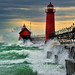 """September Gale""  Grand Haven Breakwater Lighthouse is located in the harbor of Grand Haven, Michigan by Michigan Nut"