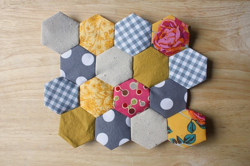 Byov bring your own vegetables how to easy hexagon for Hexagon quilt template plastic