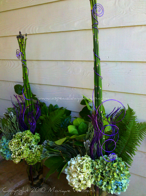Tall wedding centerpieces green purple antique hydrangea fern