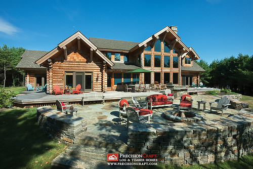 Exterior Rear Elevation | Milled Log Home | Located in Maine | PrecisionCraft Log Homes