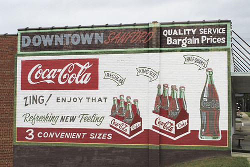 3 color wall shopping nc mural downtown painted bricks vivid coke advertisement cocacola sanford zing