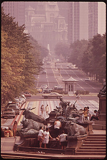 From the steps of the Philadelphia Museum of Art - looking down Benjamin Franklin Parkway toward City Hall and Center City, 09/1973.