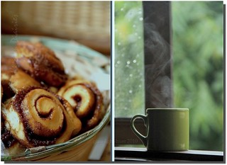 Come on Over-The coffee is hot and the rolls warm.... the rain has slowed to a drizzle and the music is playing...