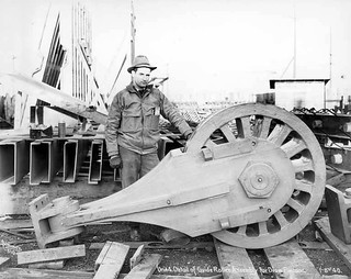 Guide roller assembly for the draw pontoon, Lake Washington Floating Bridge construction, the only concrete pontoon bridge in the world, January 8, 1940