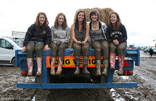 Smiling Irish Girls in Muddy Wellies