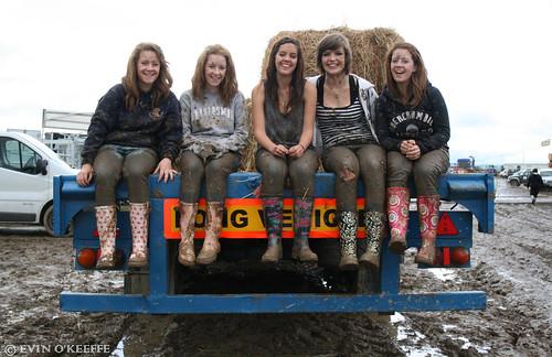 Smiling Irish Girls in Muddy Wellies