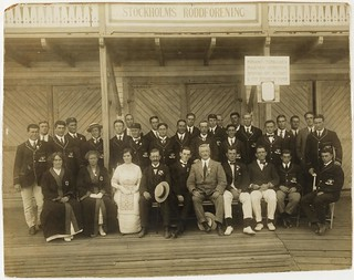 The Australasian (combined Australian and New Zealand) Olympic Team at Stockholm's Roddforening [Rowing Association], 1912 / photographer unknown