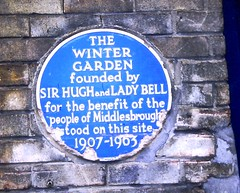 Photo of Middlesbrough Winter Garden, Thomas Hugh Bell, and Florence Bell blue plaque