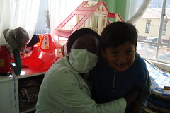 Ann Oluloro and patient at Hospital del Nino, La Paz