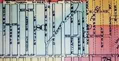 Montréal 1890. Détail 1. Village de Côte Saint-Louis et le chemin des Carrières.