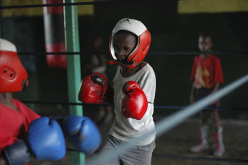 Young boys train in a boxing club