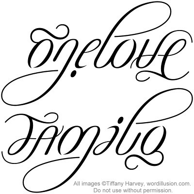 Love Tattoo Designs on One Love     Family  Ambigram V 2   Flickr   Photo Sharing