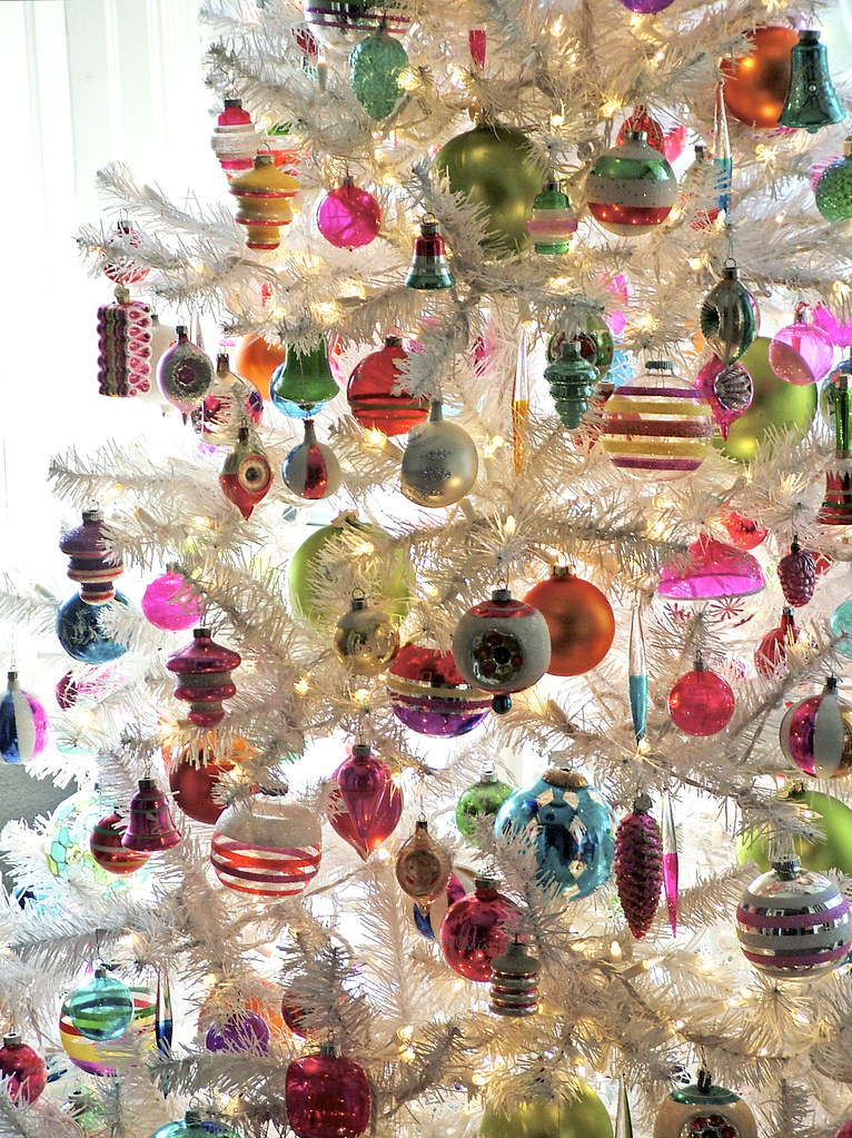 Vintage Ornaments on White Christmas Tree