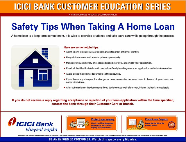 Safety Tips When Taking a Home Loan form ICICI Bank ...